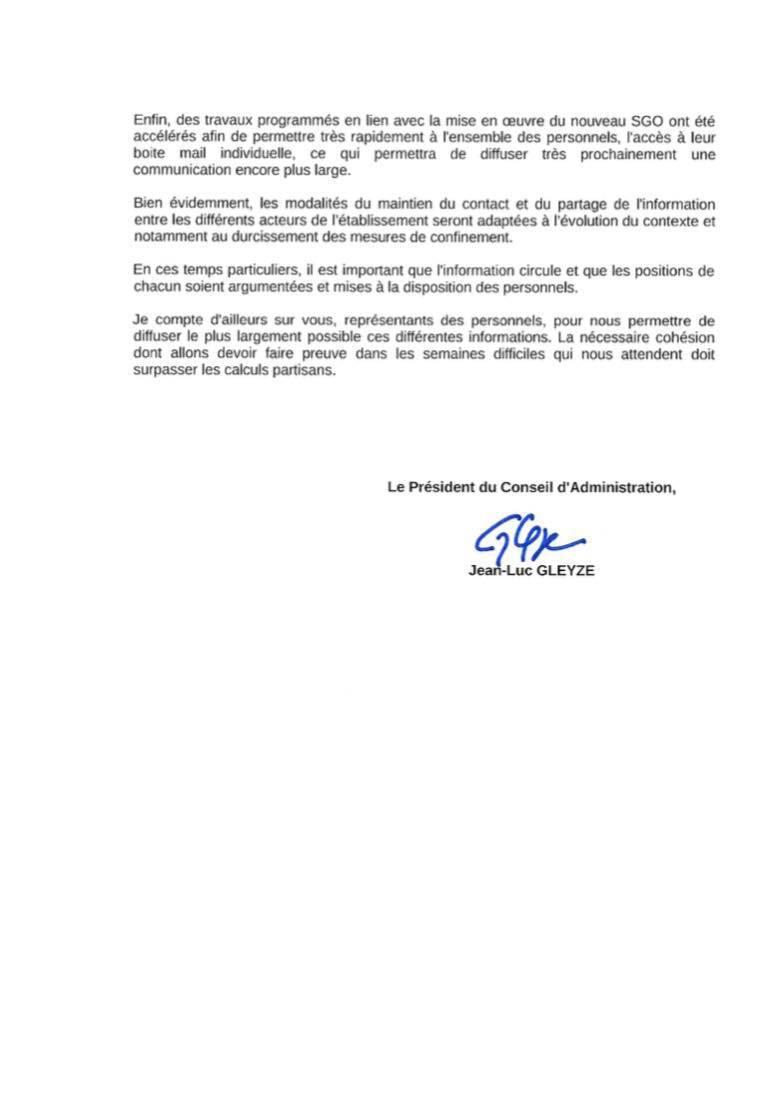 Réponse du Président suite au courrier du 23 mars 2020.