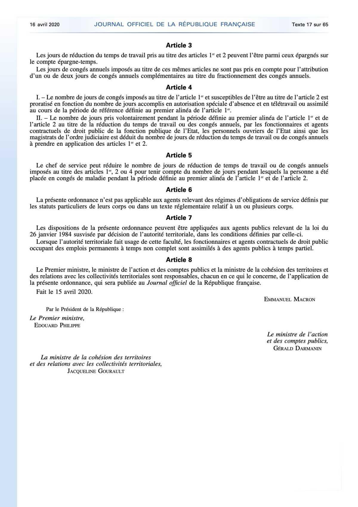Une ordonnance qui permet aux employeurs publics de décider de la prise de congés ou de RTT