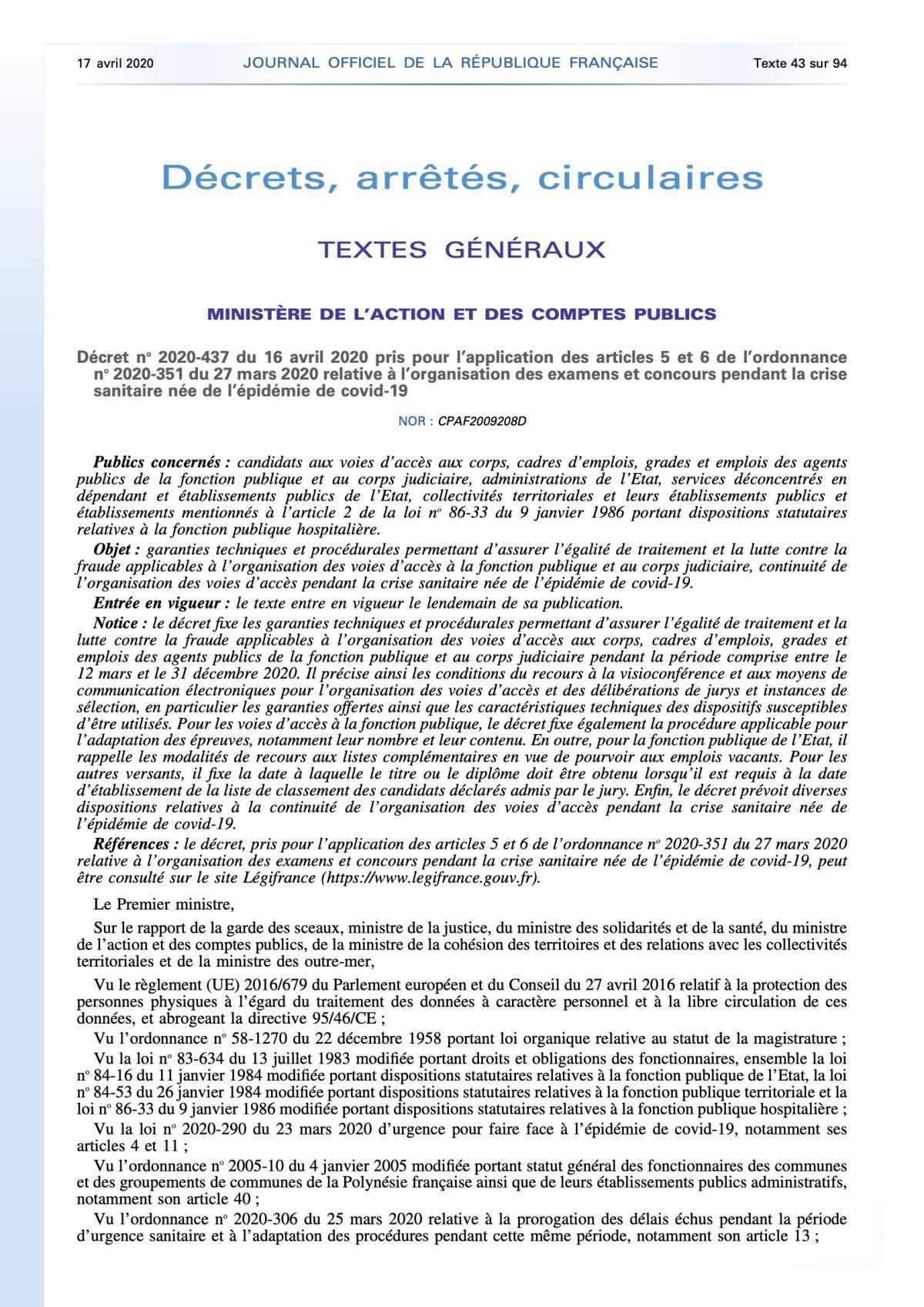 Décret no 2020-437 du 16 avril 2020 relative à l'organisation des examens et concours pendant la crise sanitaire née de l'épidémie de covid-19