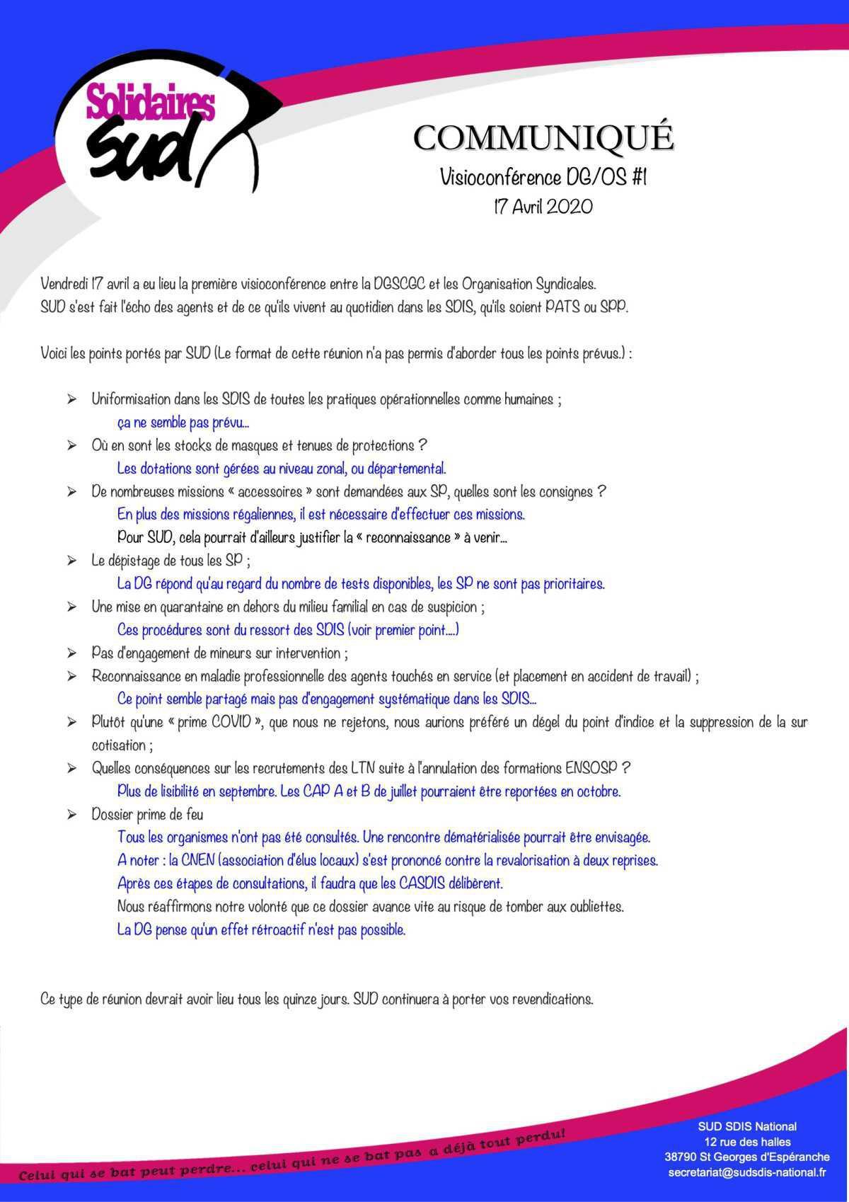 Communiqué Visioconférence DG/OS du 17 Avril 2020
