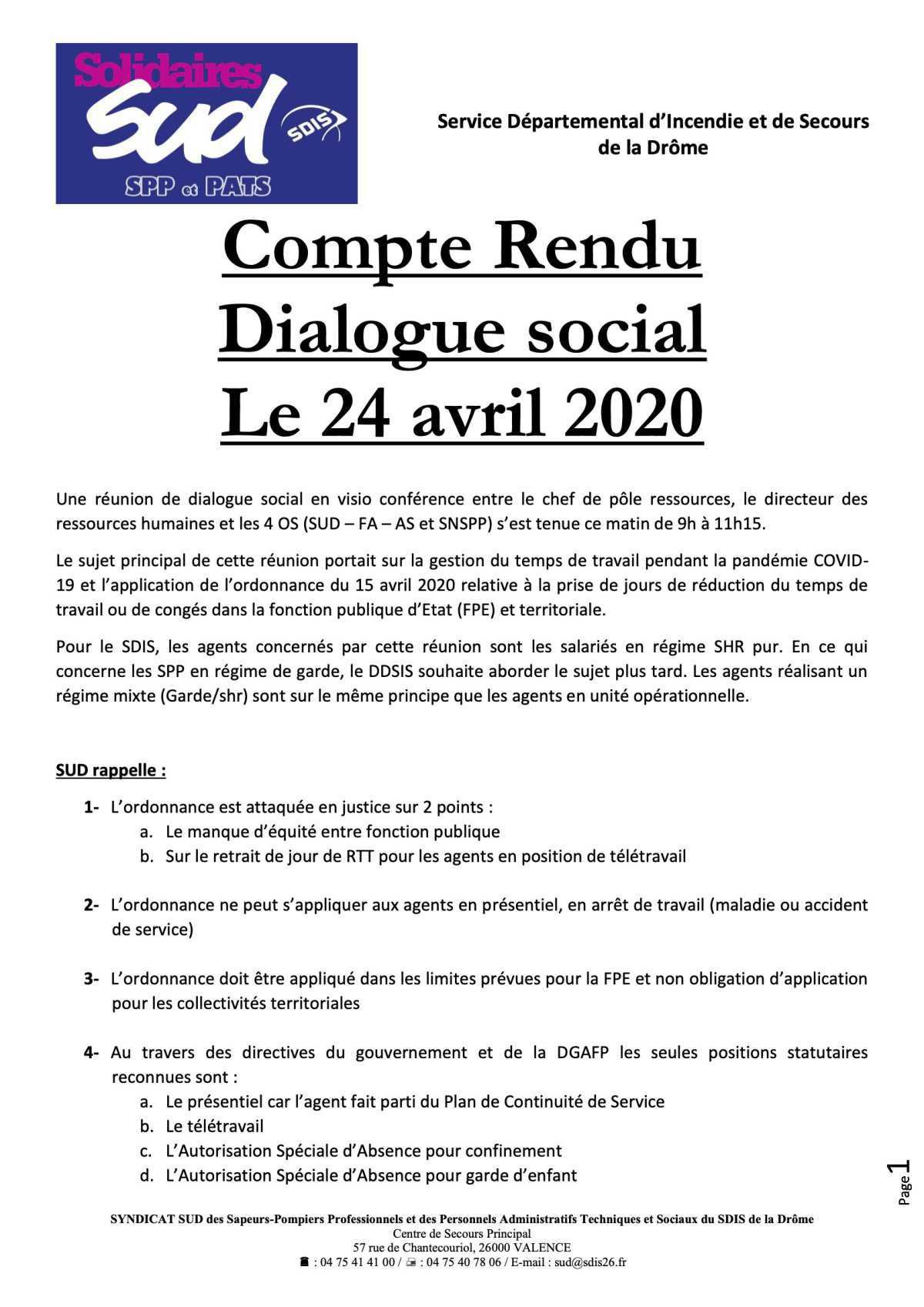 Compte rendu dialogue social le 24 avril 2020