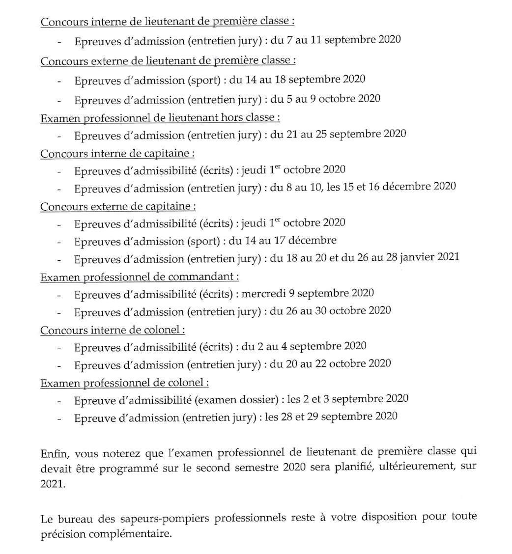 Planification des épreuves des concours et examens professionnels d'officiers SPP
