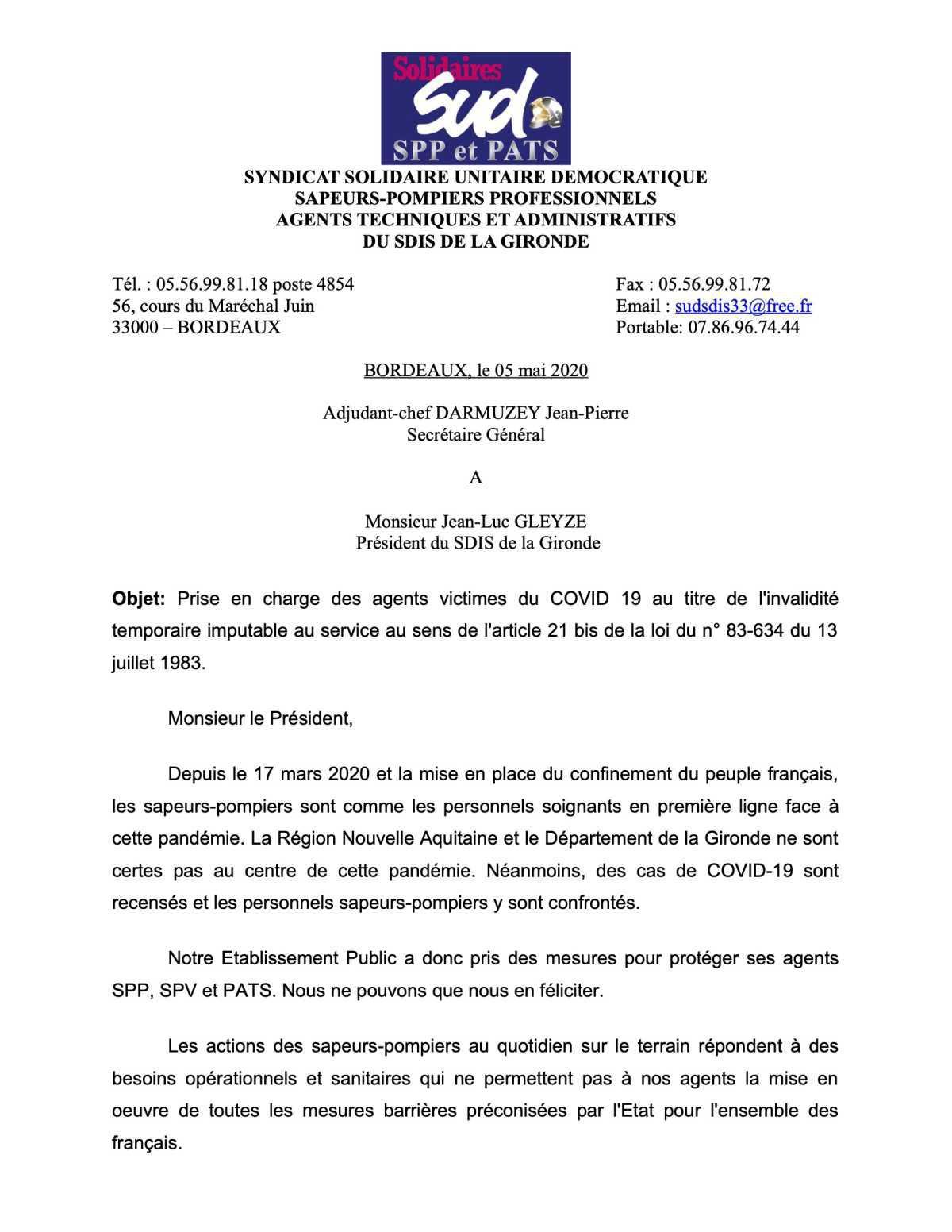 Prise en charge des agents victimes du COVID 19