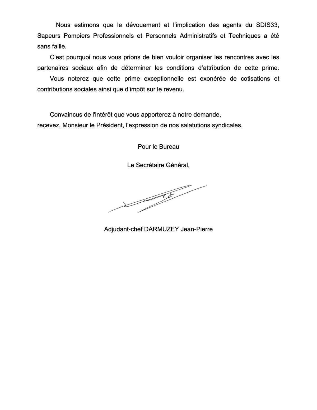 SUD SDIS 33 INTERPELLE LE PRÉSIDENT DU SDIS POUR L'OCTROI DE LA PRIME COVID