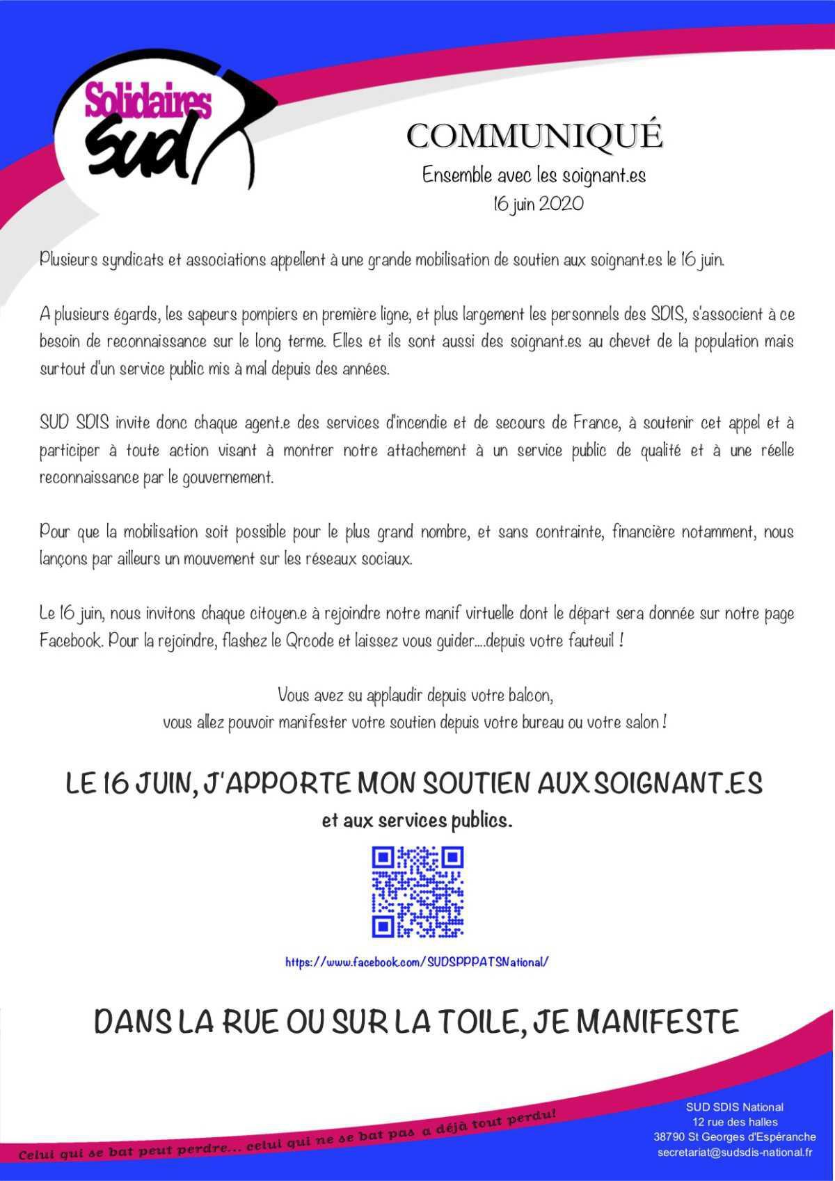 16 juin: manifestations de soutien aux soignant.es et aux services publics.