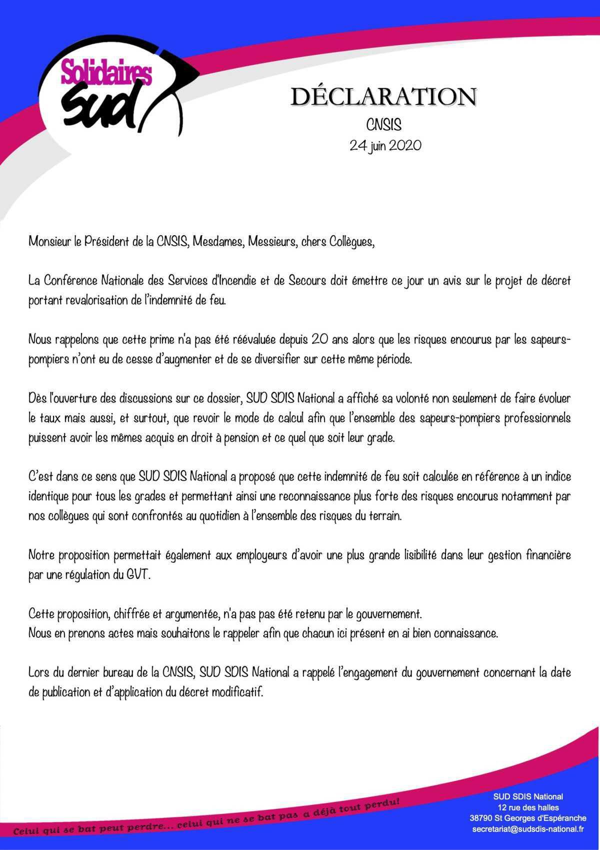 CNSIS Réunion du 24 juin 2020 en visio