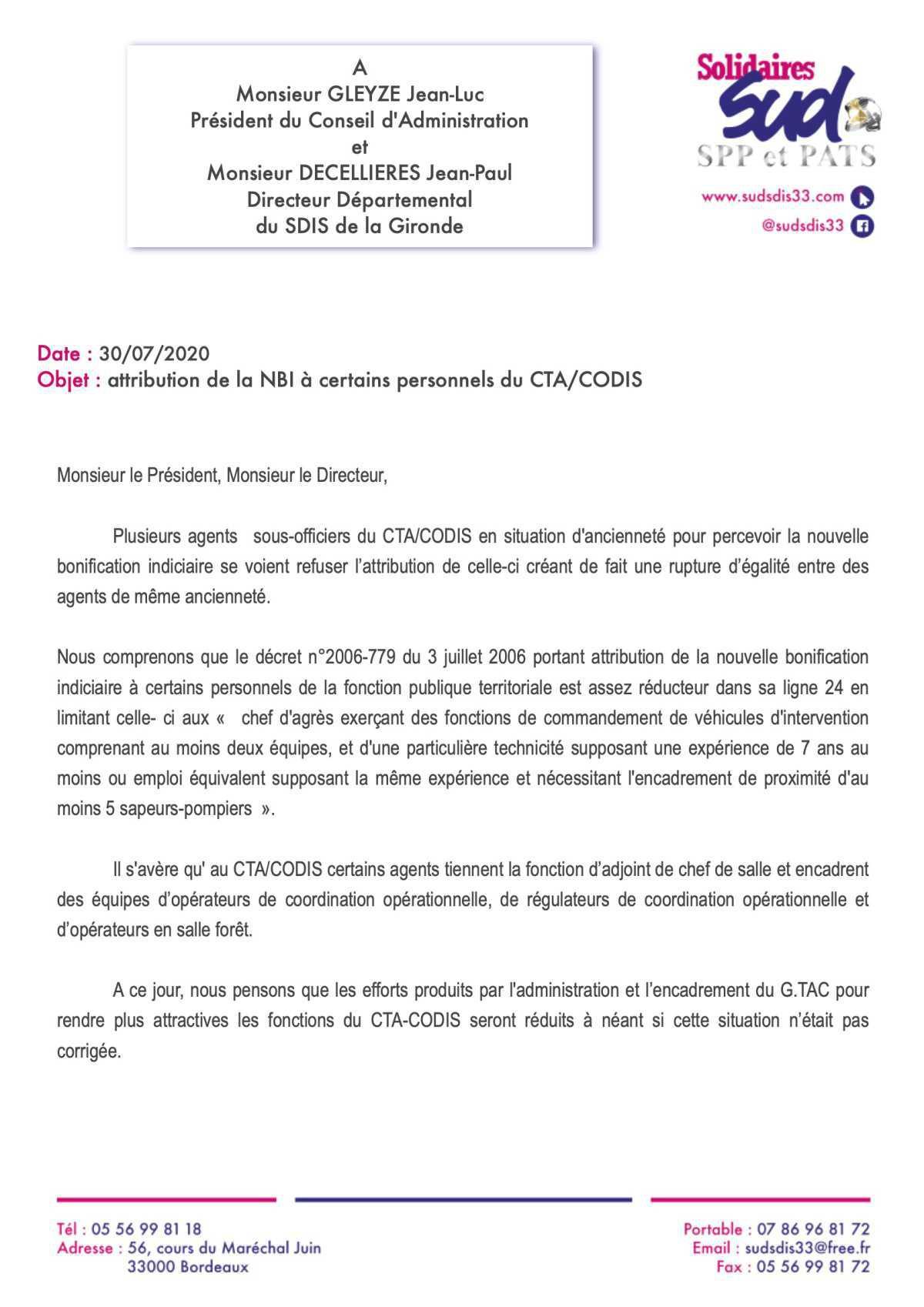Attribution de la NBI au CTA / CODIS