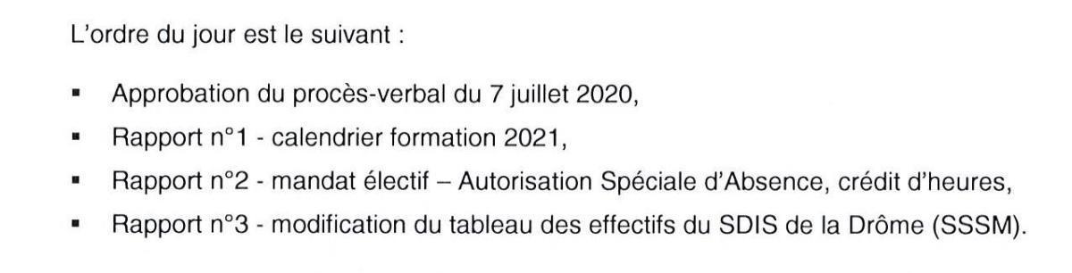 COMITE TECHNIQUE au SDIS de la Drôme le 22 septembre 2020 à 14h