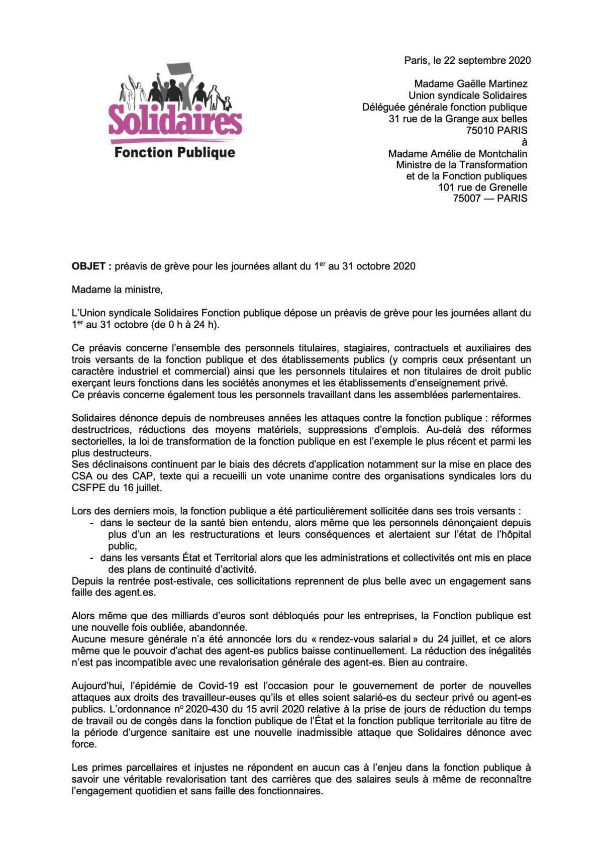 Préavis de grève Solidaire FP du 1 au 31 octobre 2020