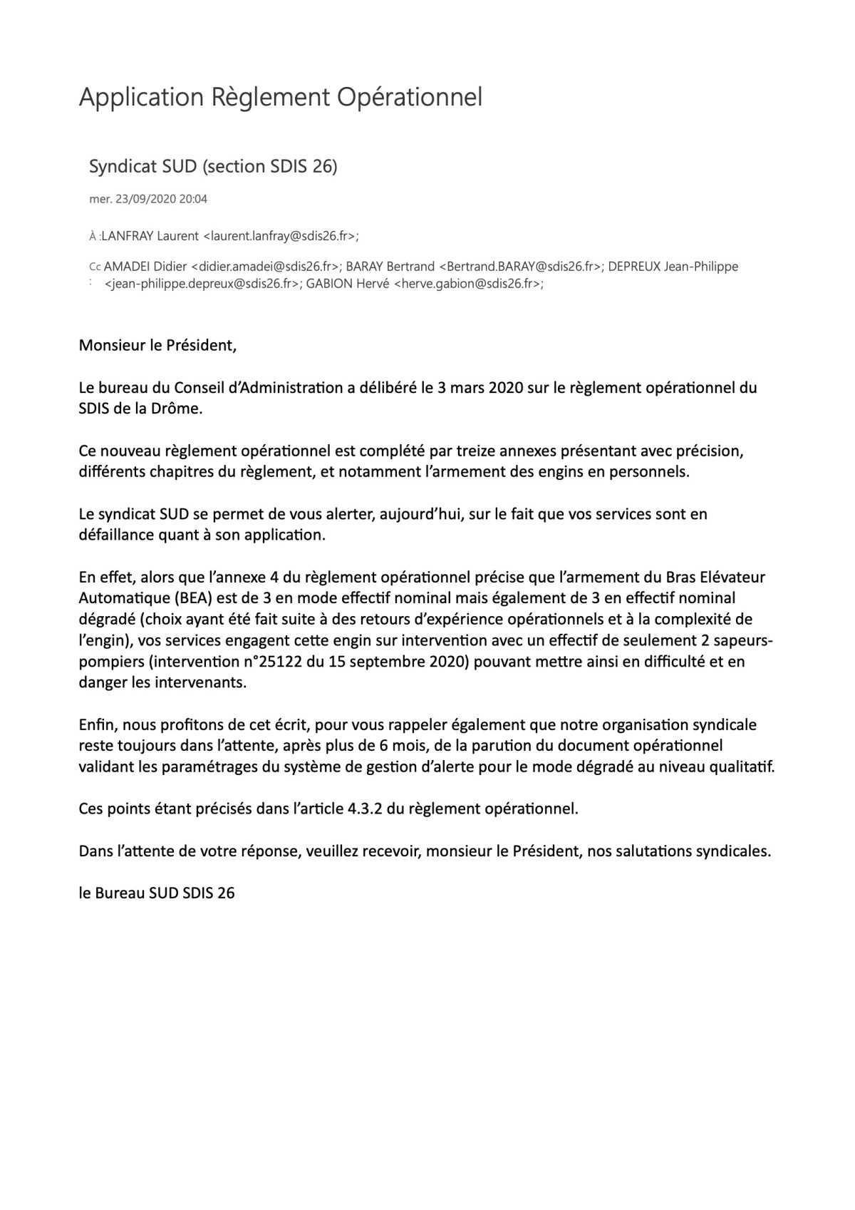 Application réglement opérationnel