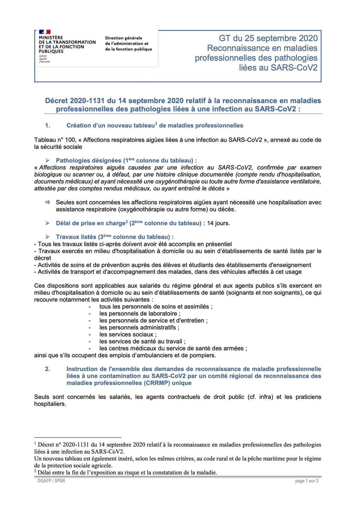 Décret 2020-1131 du 14 septembre 2020 relatif à la reconnaissance en maladies professionnelles des pathologies liées à une infection au SARS-CoV2 :