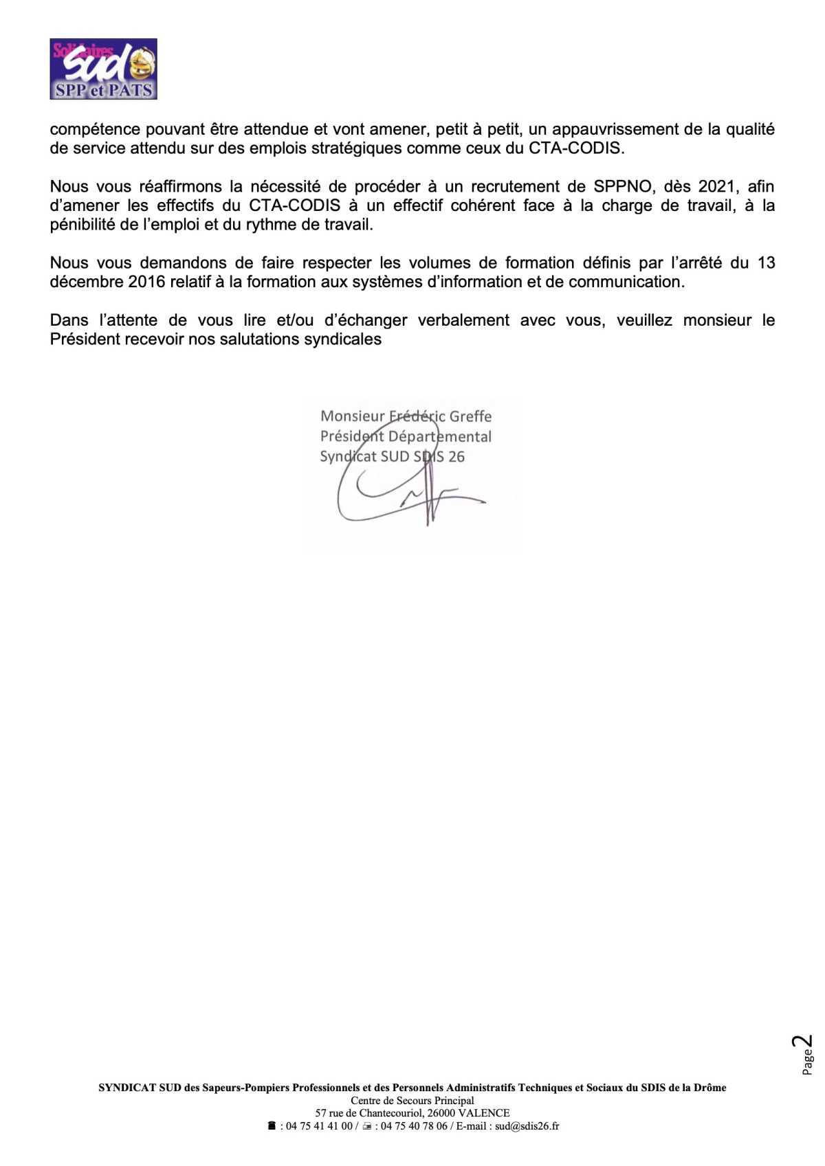 SUD 26 interpelle le SDIS sur les effectifs du CTA-CODIS et l'avis de vacance de poste d'opérateur salle opérationnelle pour les SPV
