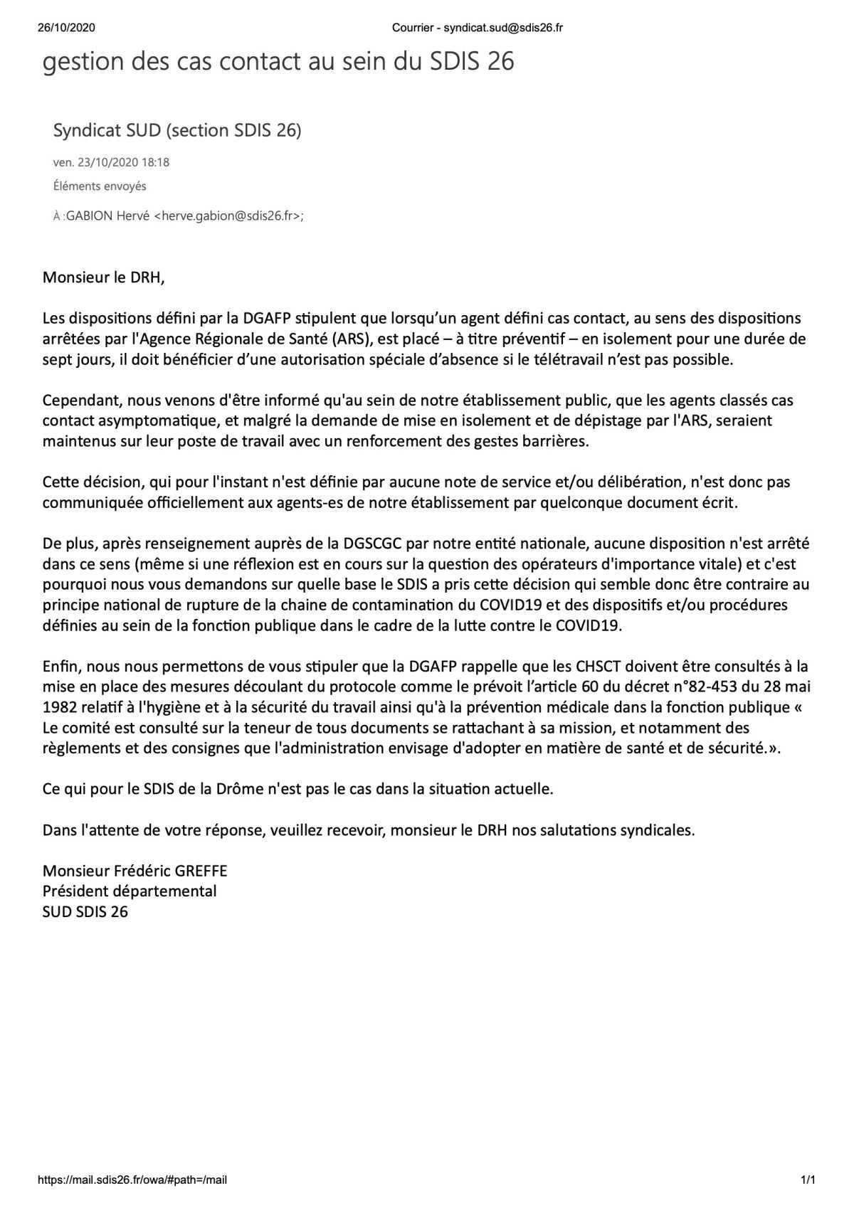 SUD 26 interroge le DRH sur la gestion des cas contact, définis par l'ARS, au sein du SDIS de la Drôme