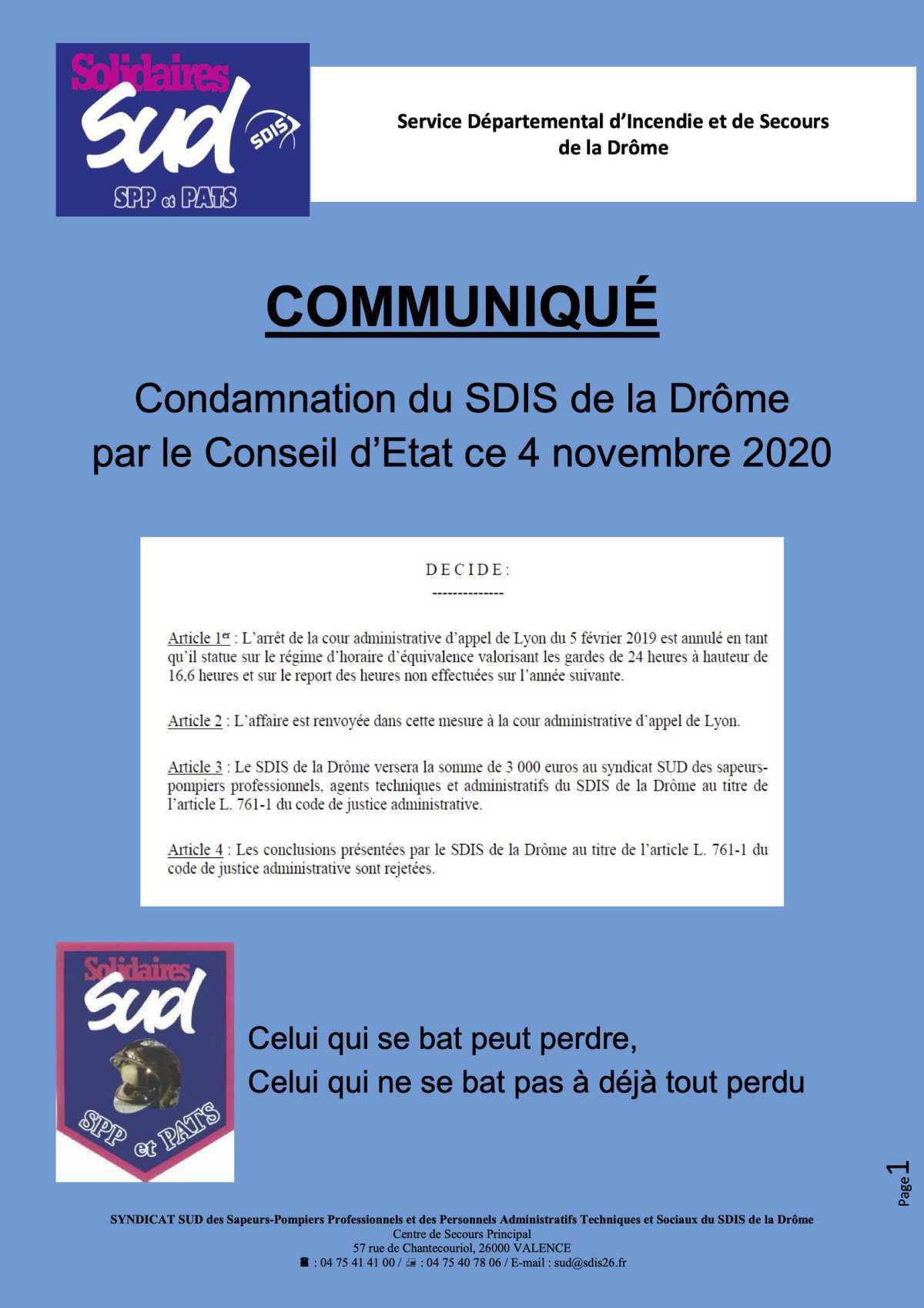 SUD SDIS 26 fait condamner le SDIS de la Drôme au Conseil d'Etat