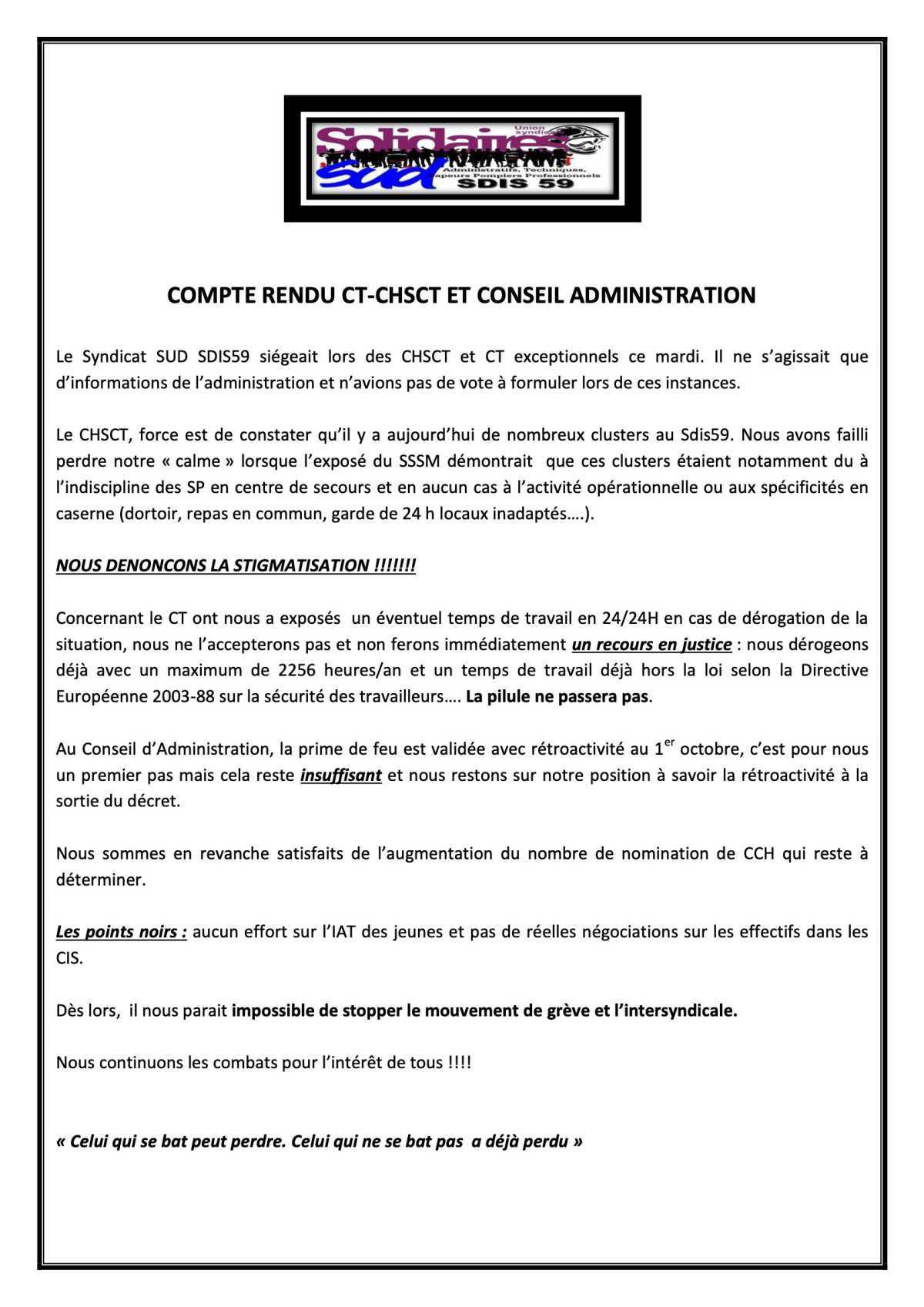 Compte rendu CT-CHSCT et CA