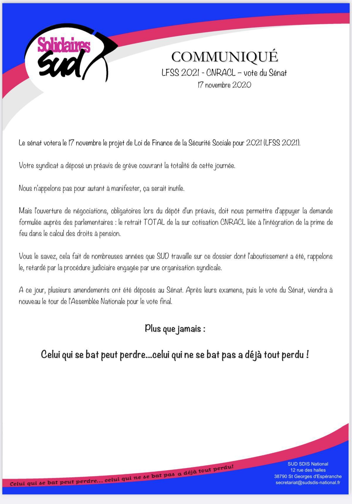 Communiqué CNRACL «vote du sénat»