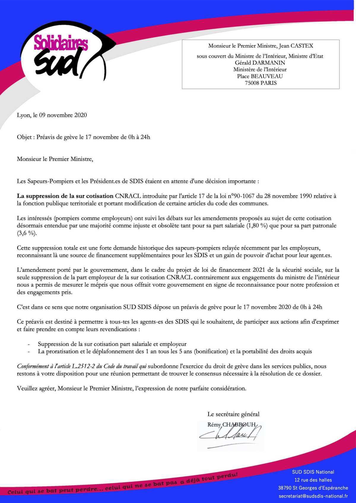 Communiqué grève 17 Novembre 2020