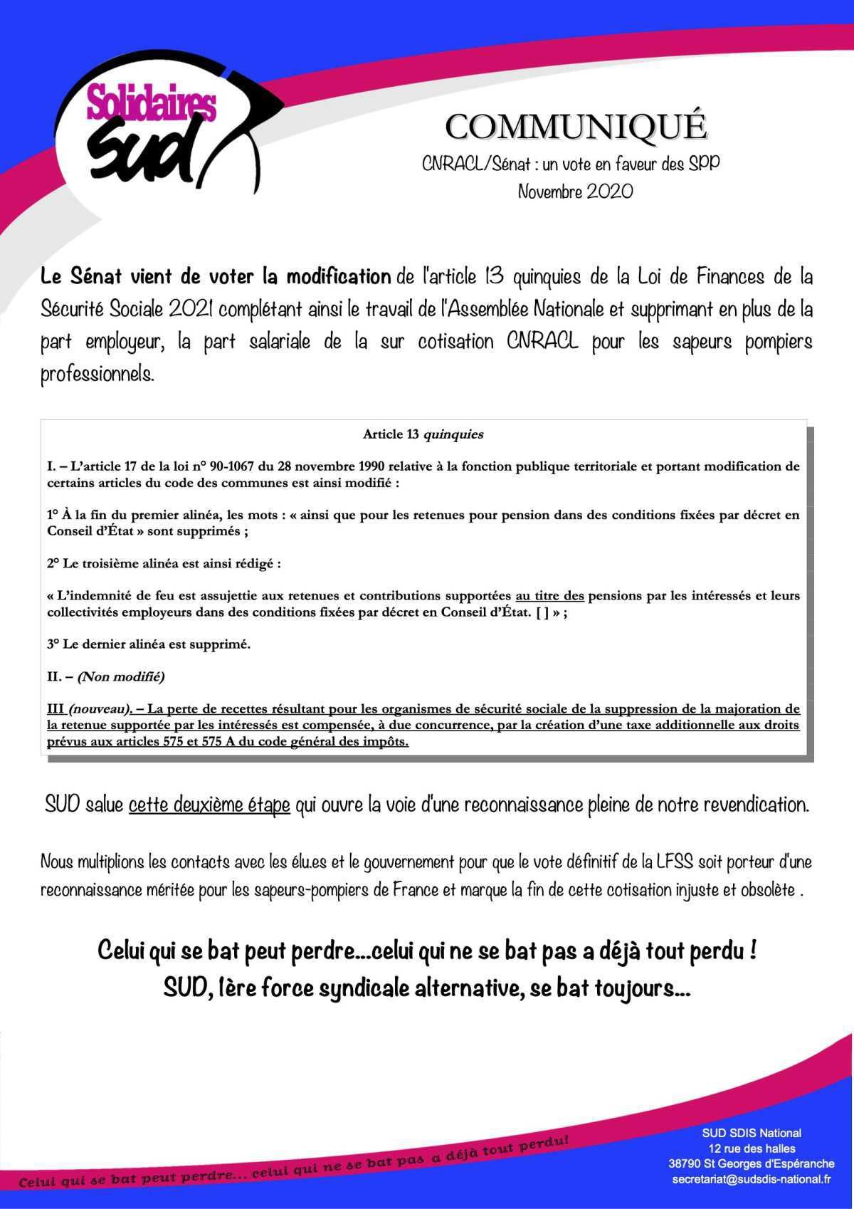 CNRACL le Sénat vote en faveur des SPP 👍