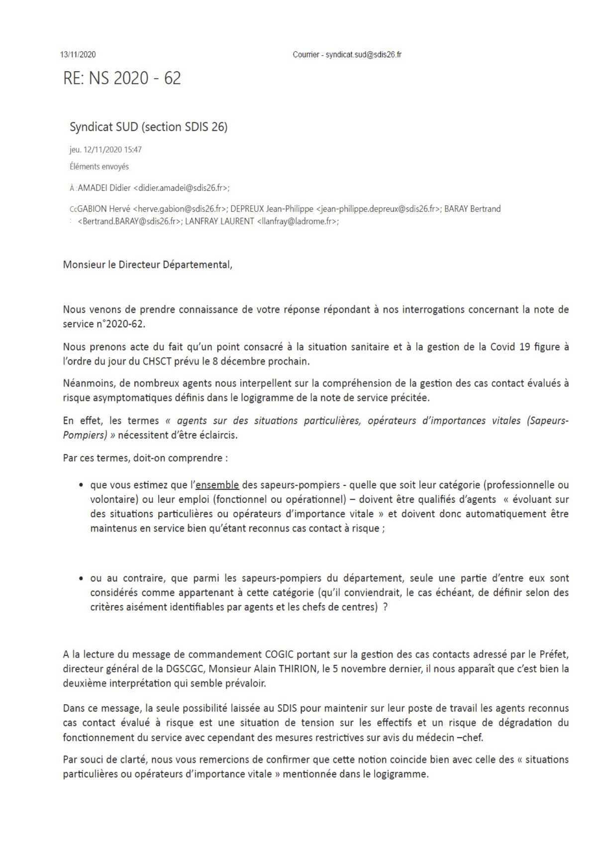 GESTION DES CAS CONTACT AU SEIN DU SDIS 26