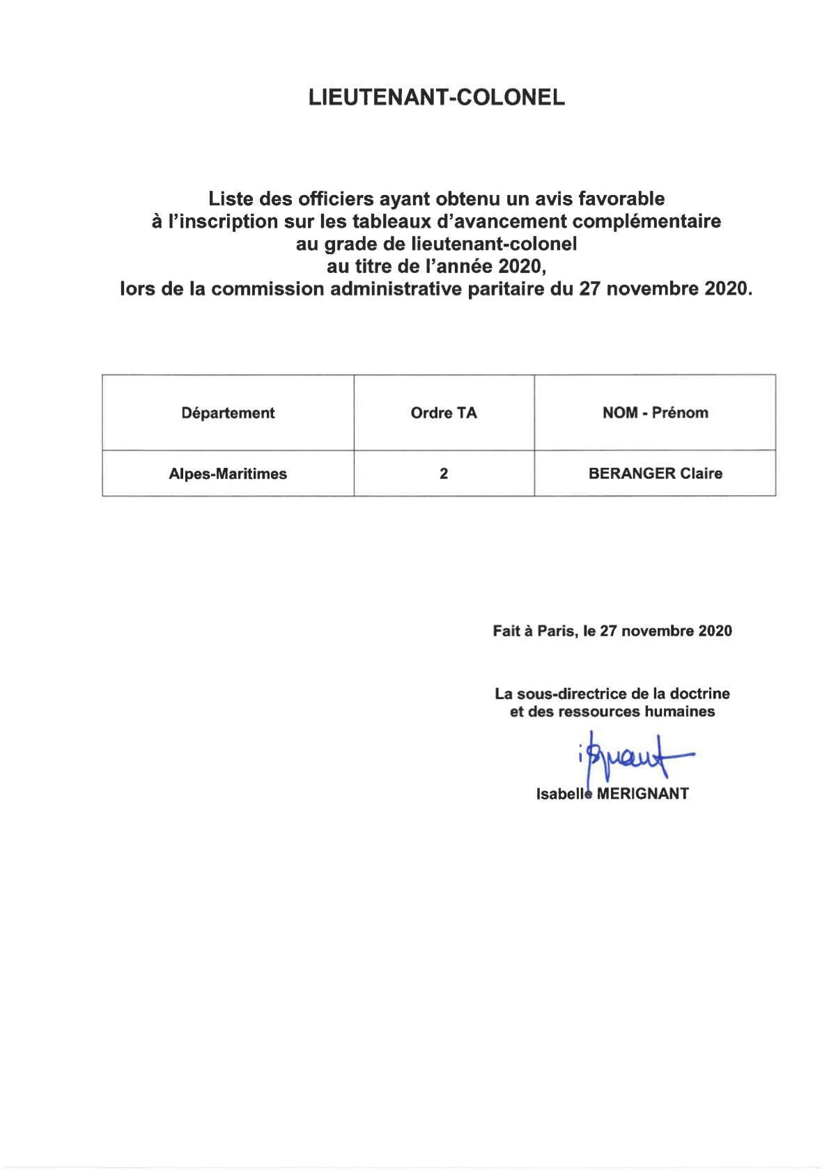 CAP du 27 novembre 2020 avancement au grade de LNT Colonel