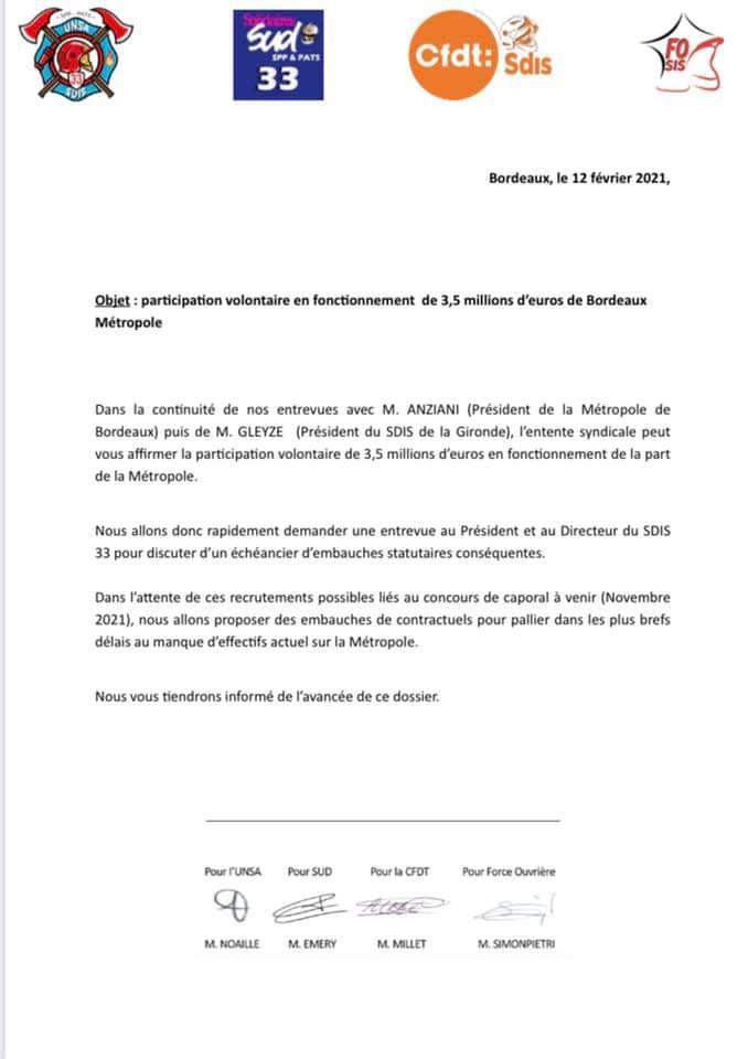 Participation volontaire en fonctionnement de 3,5 millions d'euros de Bordeaux Métropole.