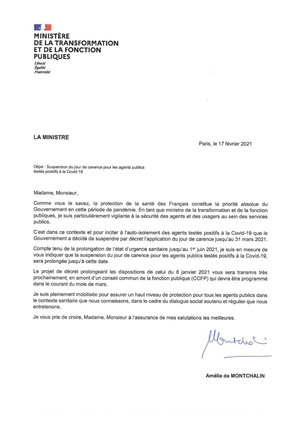 Suspension du jour de carence