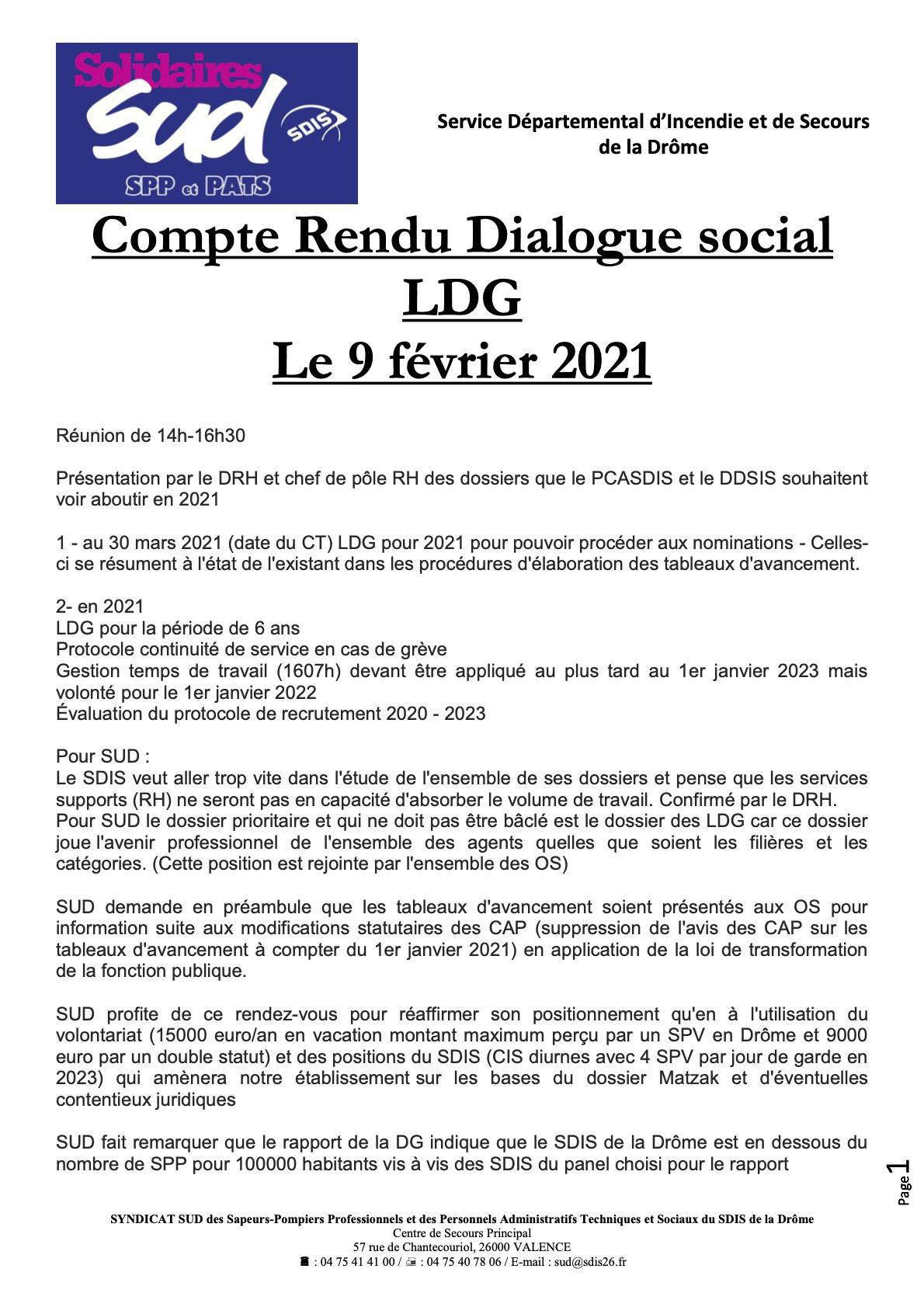 Compte rendu Réunion LDG du 9 février 2021