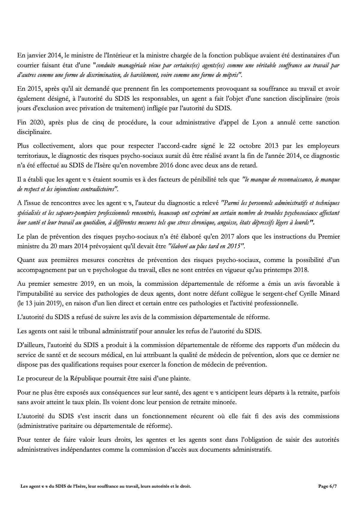 Les agent.e.s du SDIS de l'Isère, leur souffrance au travail, leurs autorités et le droit