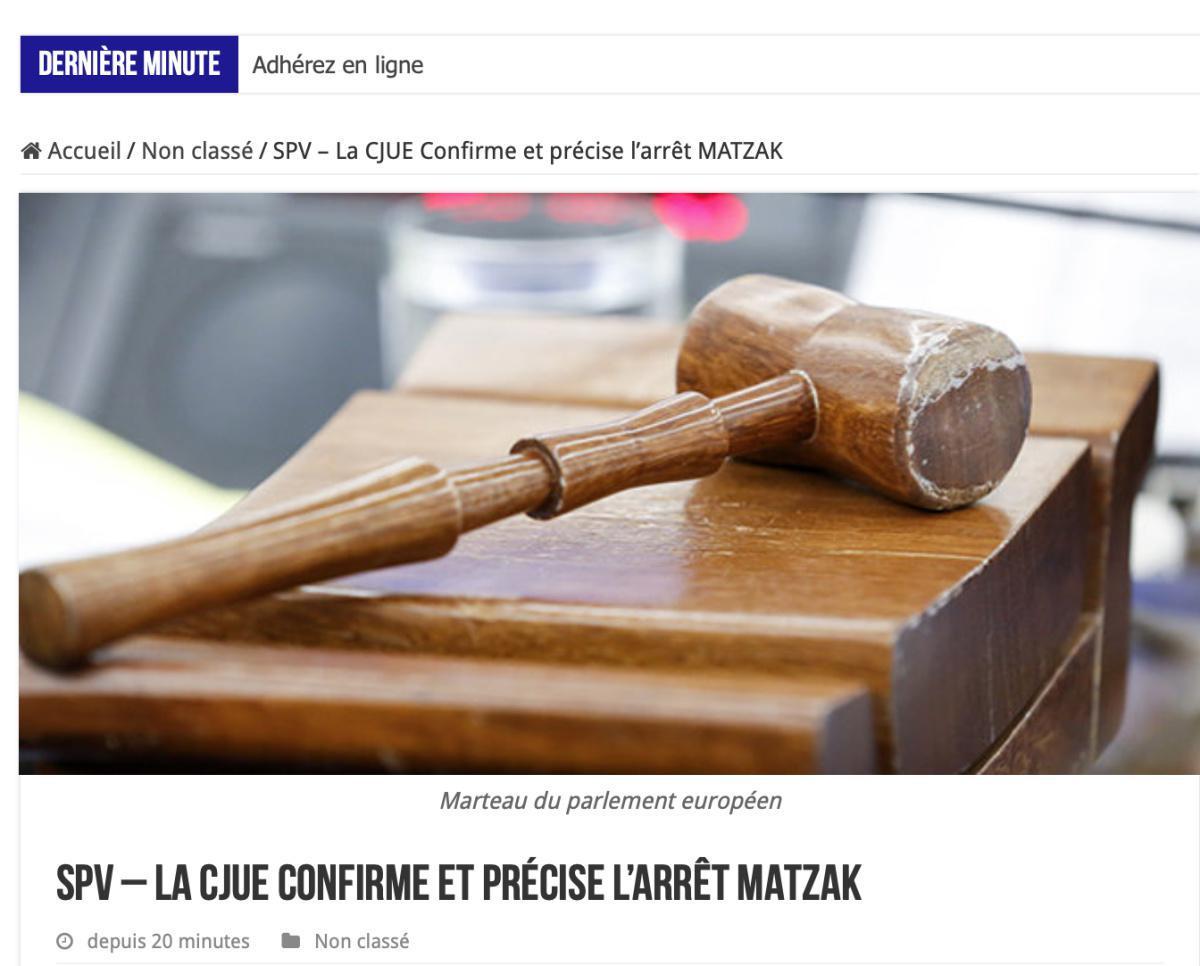 La CJUE Confirme et précise l'arrêt MATZAK