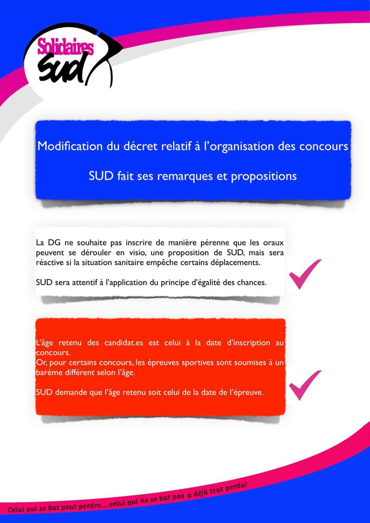 Modification du décret relatif à l'organisation des concours
