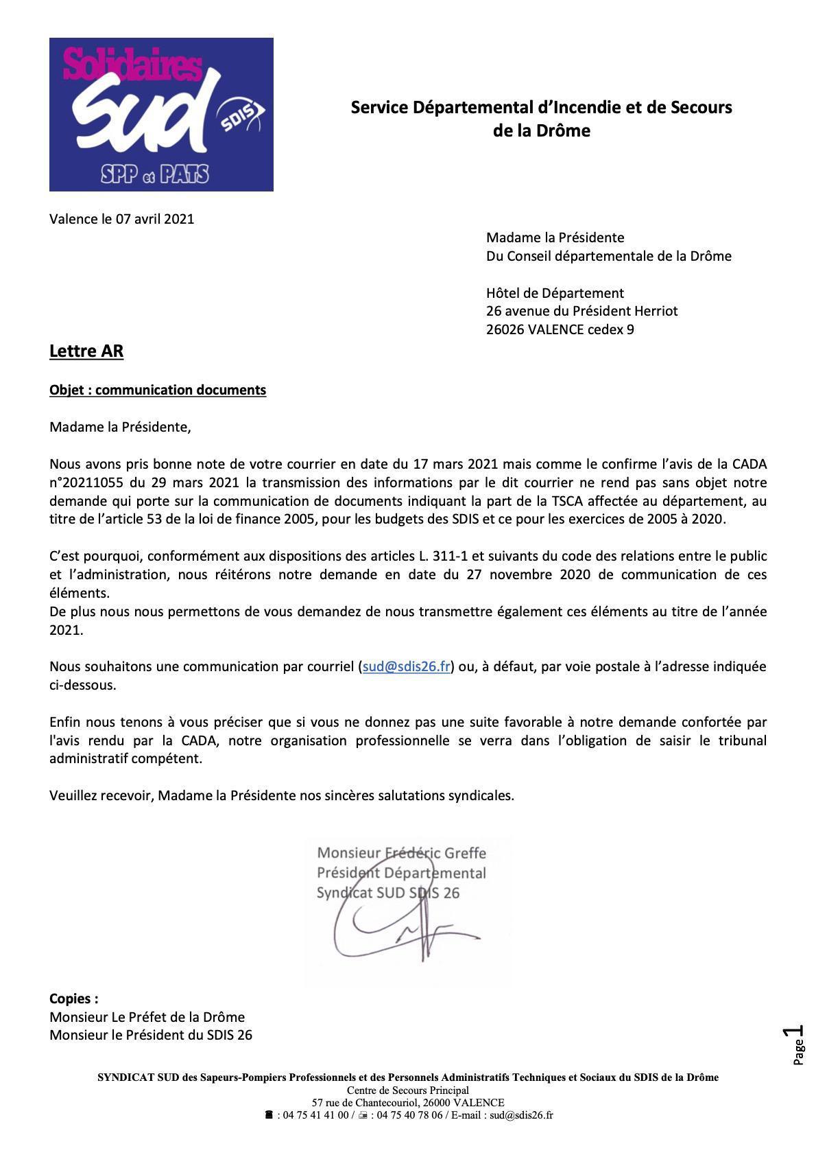 Les montants de la TSCA dans la Drôme ?