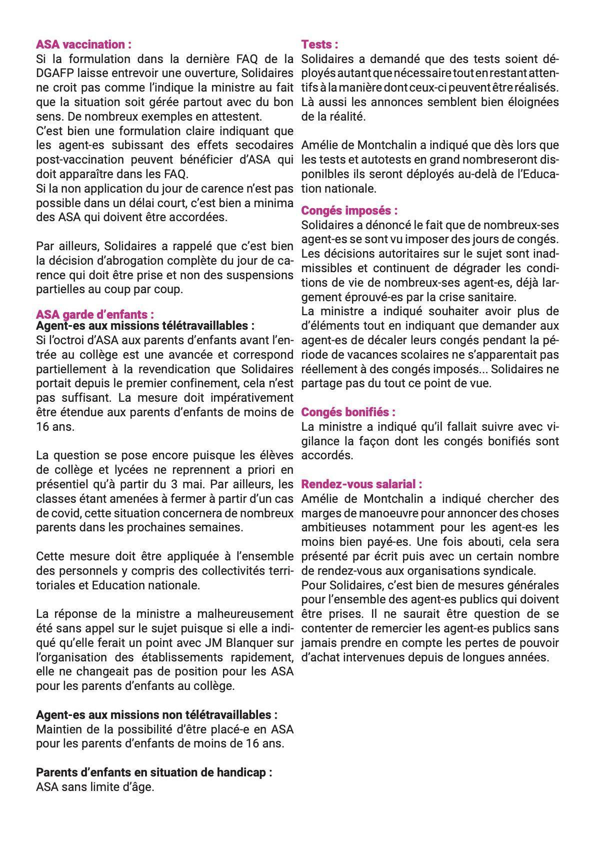 Réunion de suivi Covid 26 avril 2021