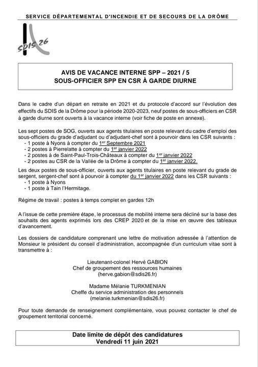 Avis de vacance interne au SDIS 26 / Protocole plan de recrutement 2020/2023