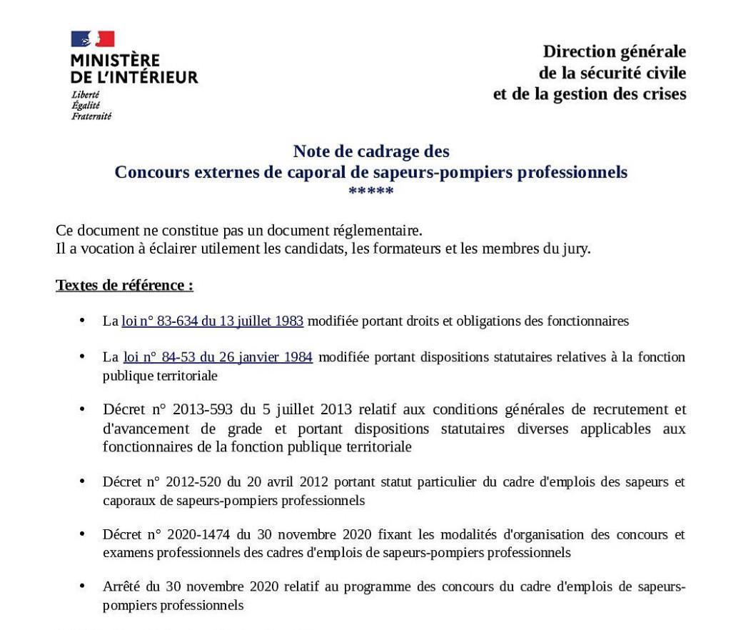 Note de cadrage des concours externes de caporal de SPP