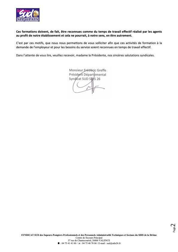 LA FORMATION DES AGENTS AU PROFIT DU SDIS POUR SUD, C'EST DU TEMPS DE TRAVAIL EFFECTIF