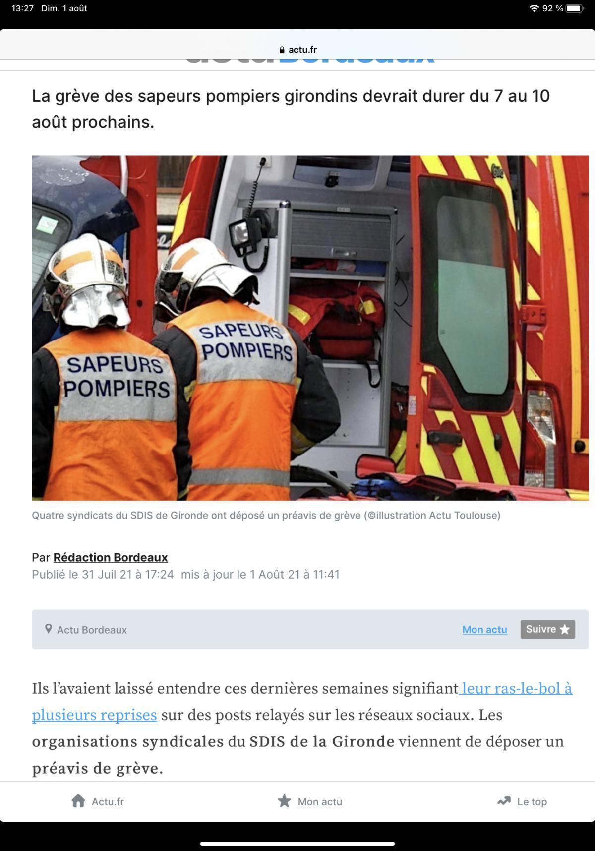 Gironde : quatre syndicats des sapeurs-pompiers déposent un préavis de grève