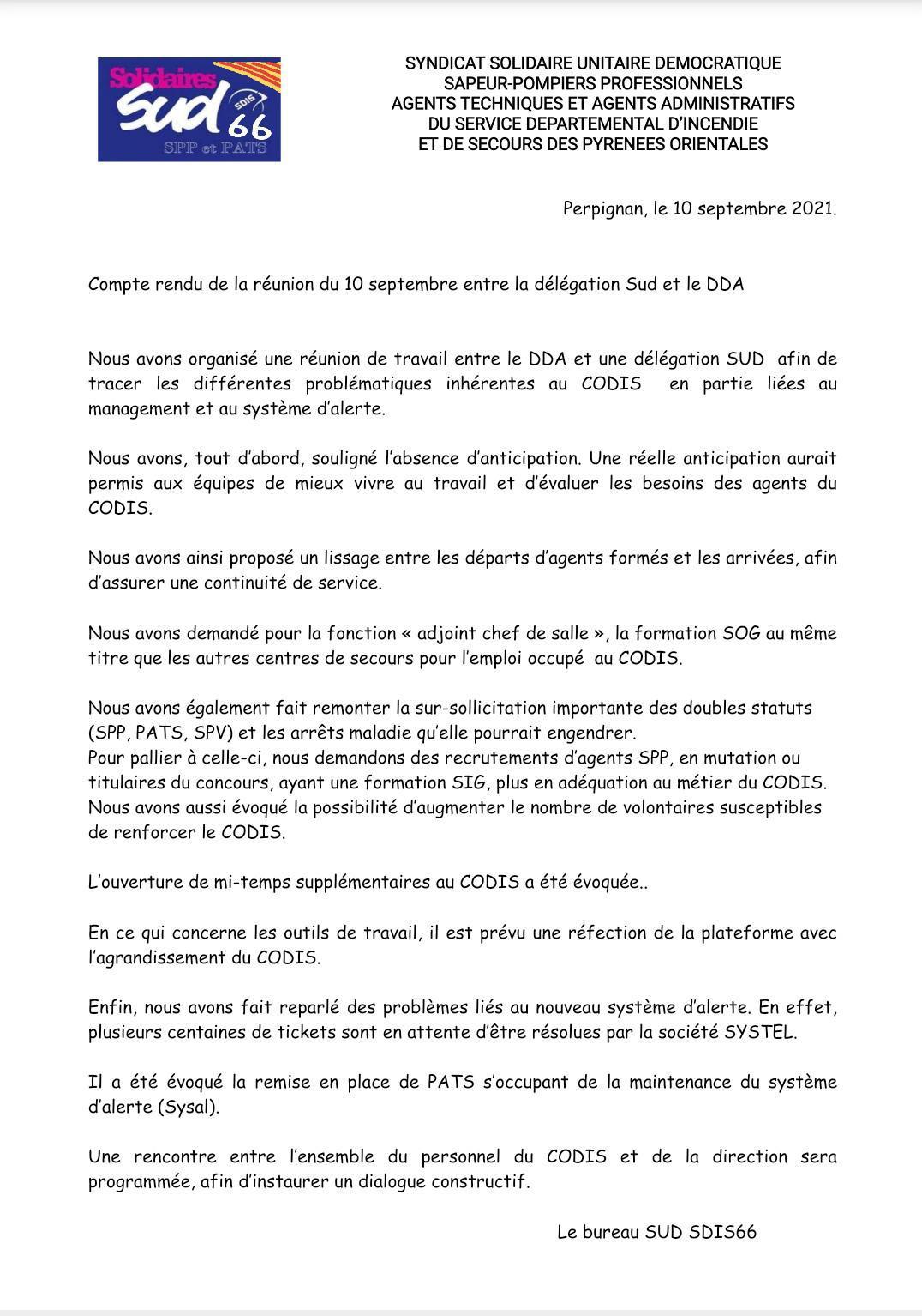 Compte rendu de la réunion du 10 septembre entre Sud et le DDA