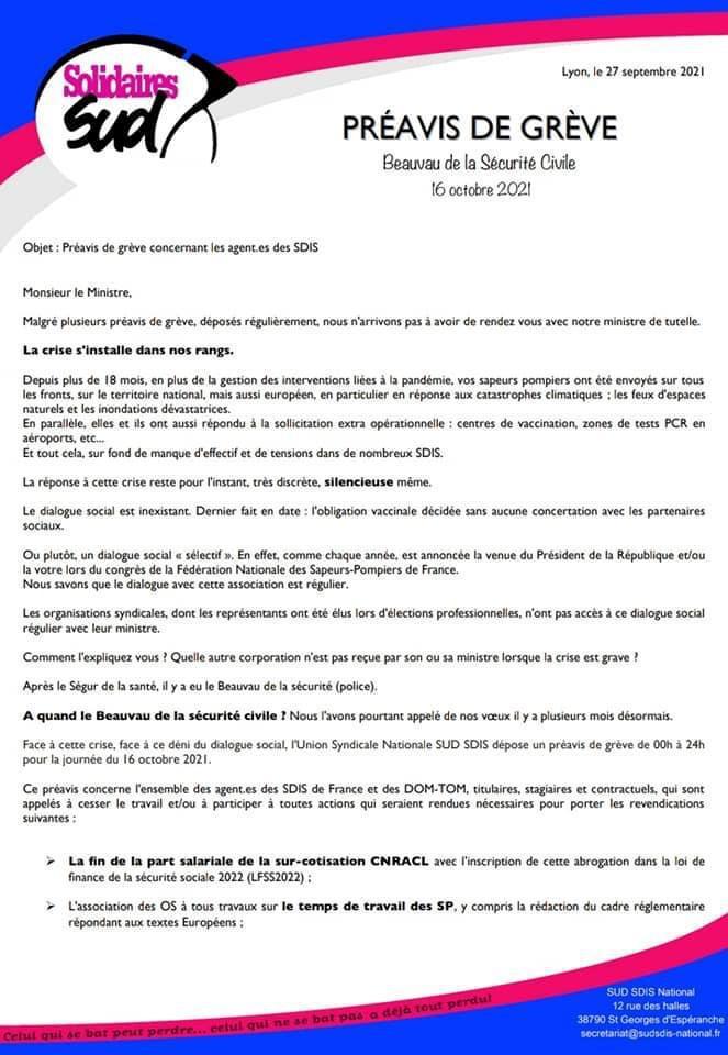🇲🇫 GRÈVE NATIONALE DES AGENTS DES SDIS LE 16 OCTOBRE 2021