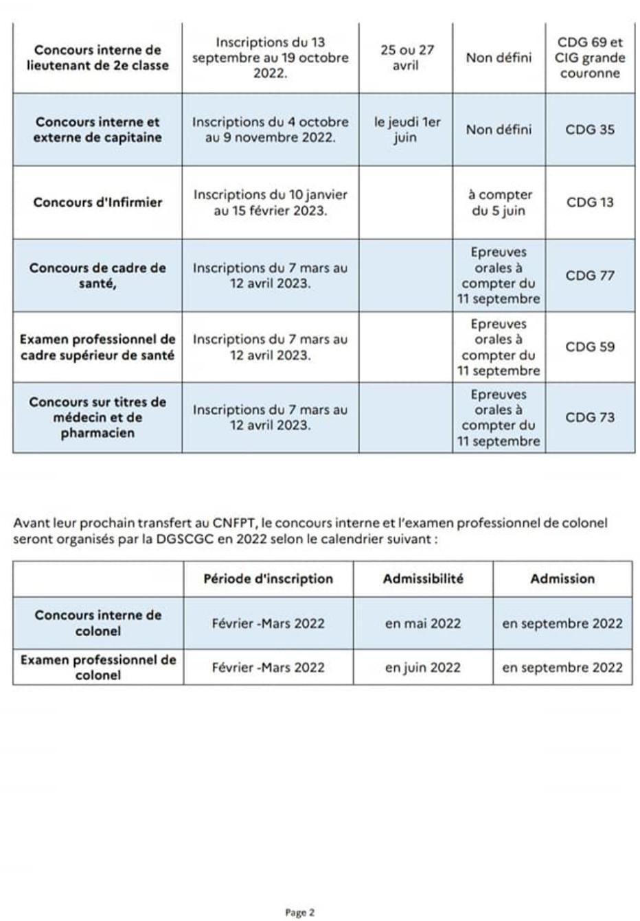 📍 Calendrier prévisionnel des concours et examens des officiers de sapeurs-pompiers professionnels au titre des sessions 2022 et 2023