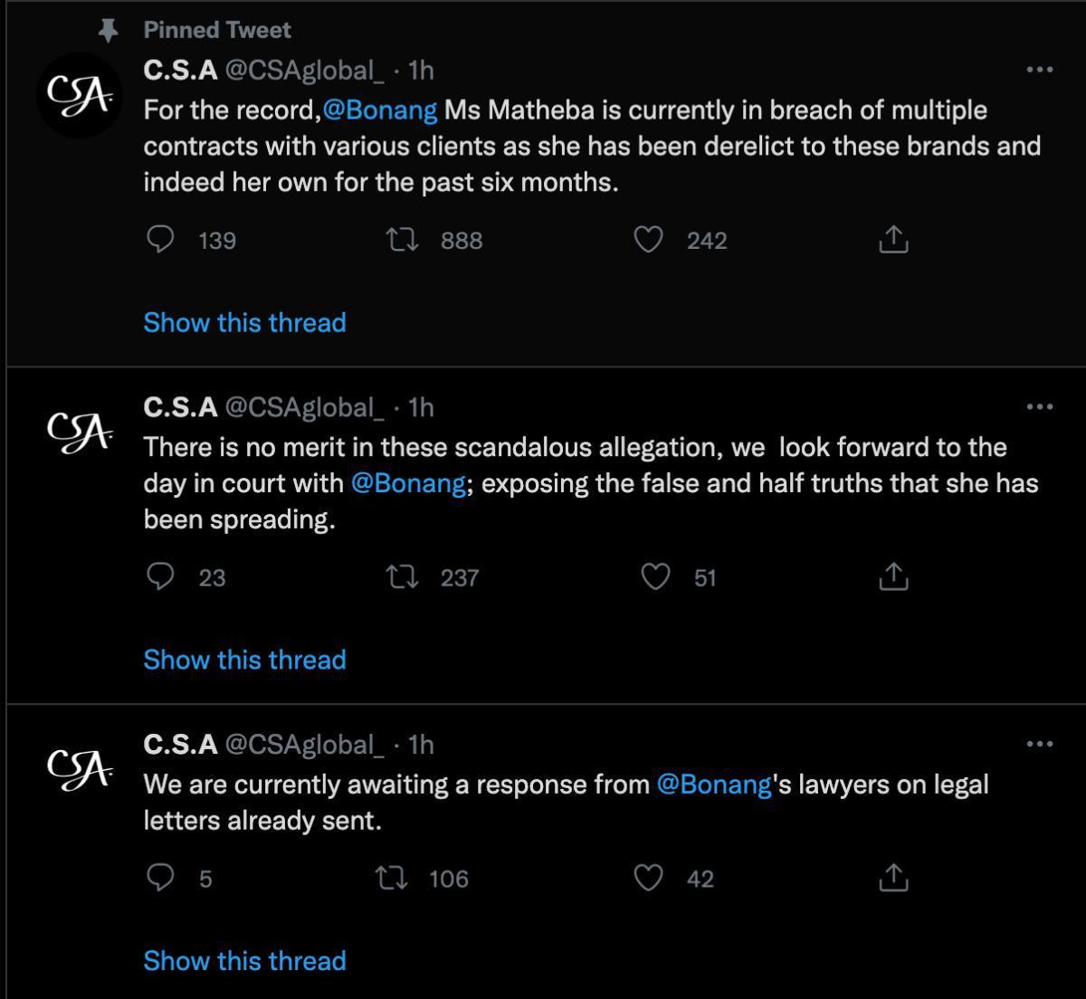 Bonang Matheba has terminated contract with (CSA Global) her management group
