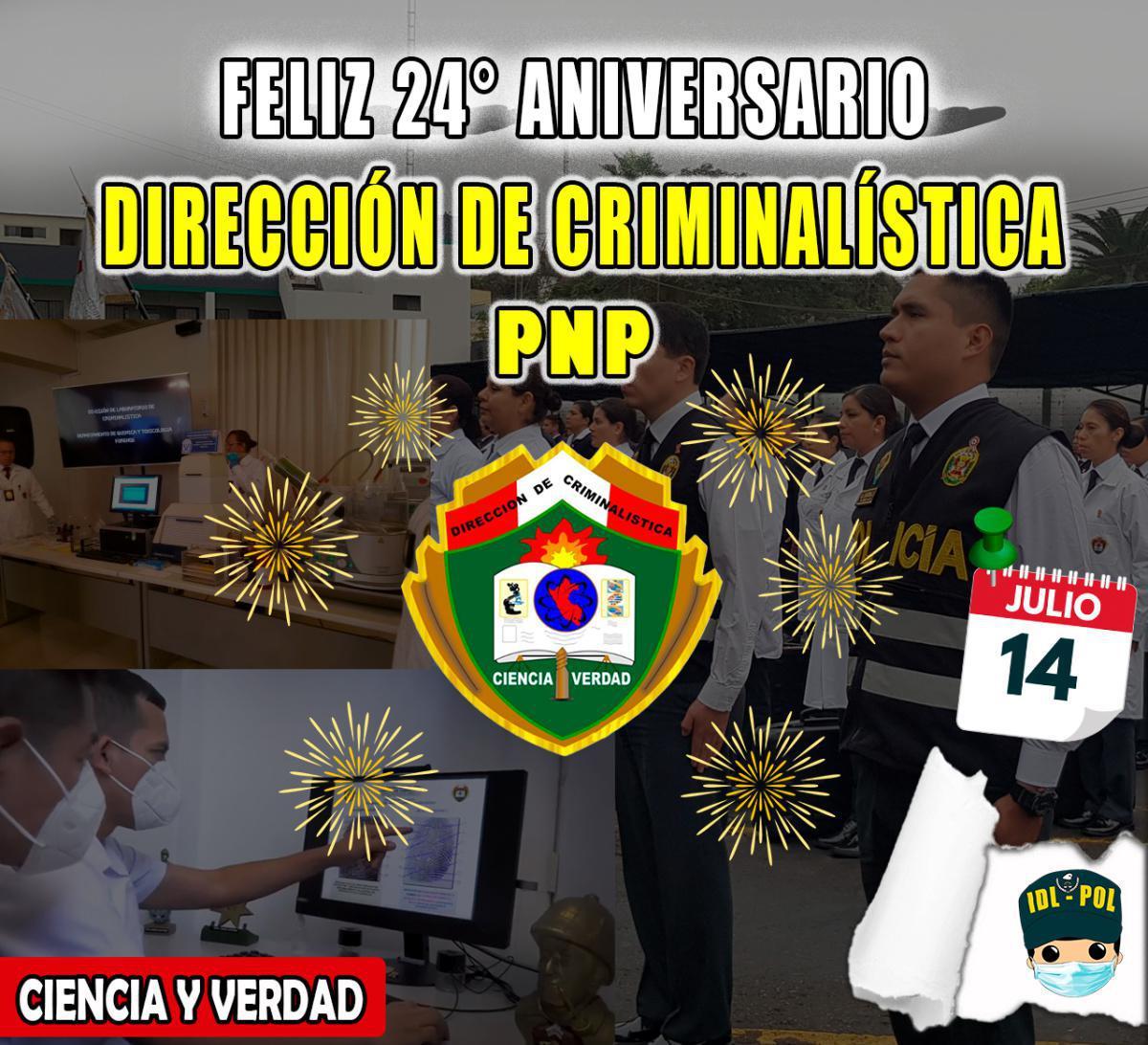 ¡FELIZ ANIVERSARIO DIRECCIÓN DE CRIMINALÍSTICA!