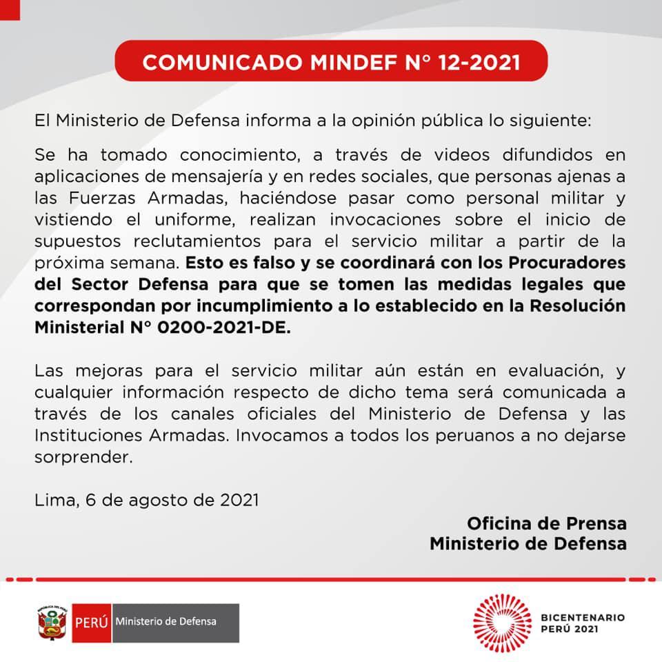 Comunicado Ministerio de Defensa
