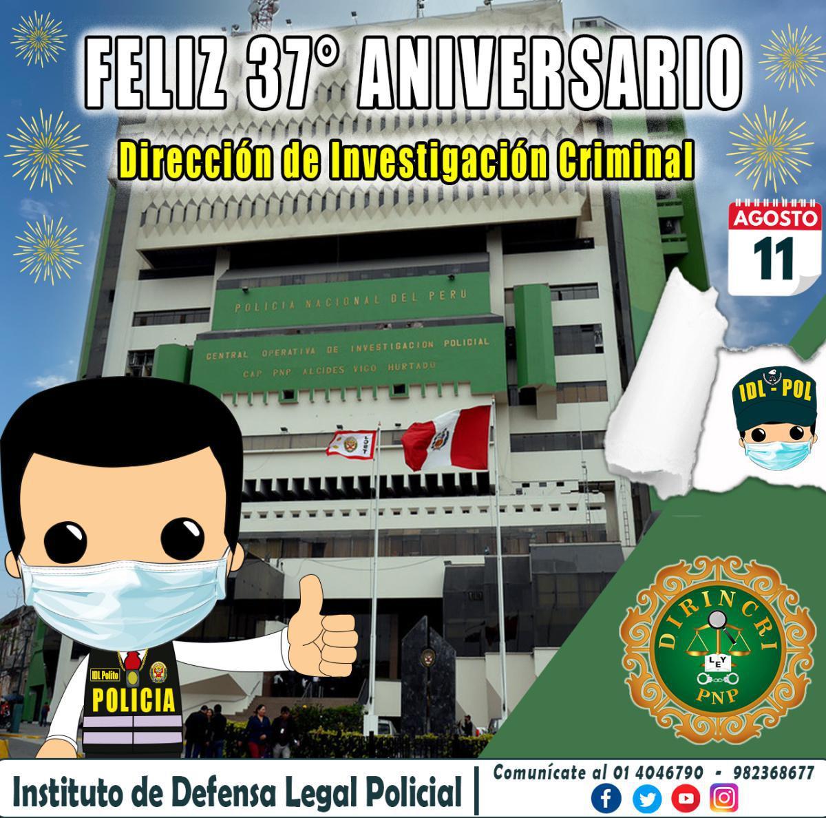 FELIZ ANIVERSARIO DIRECCIÓN DE INVESTIGACIÓN CRIMINAL