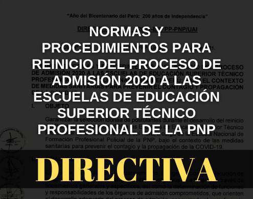 Directiva que establece Normas y Procedimientos para reinicio del proceso de admisión 2020 a las EESTP-PNP