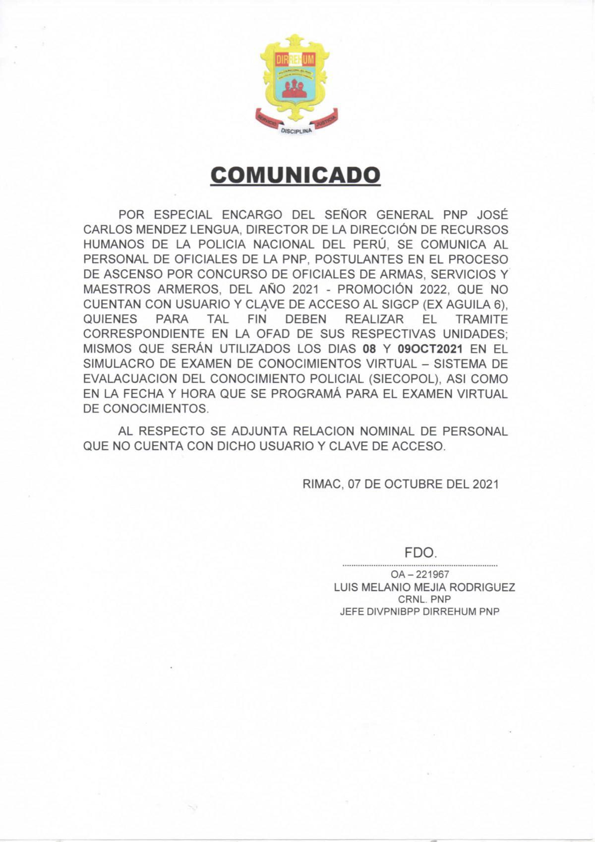 COMUNICADO referente al proceso de ascenso - Oficiales PNP