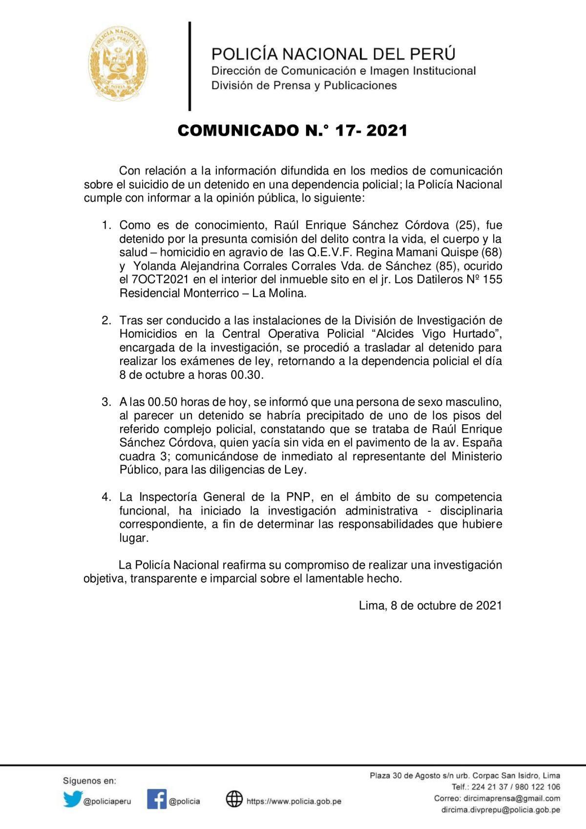 COMUNICADO PNP