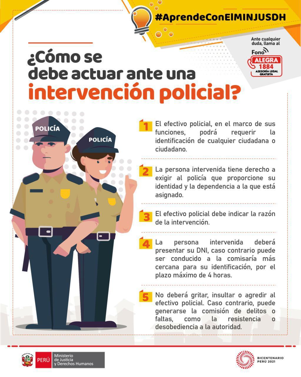 ¿Cómo se debe actuar ante una intervención policial?
