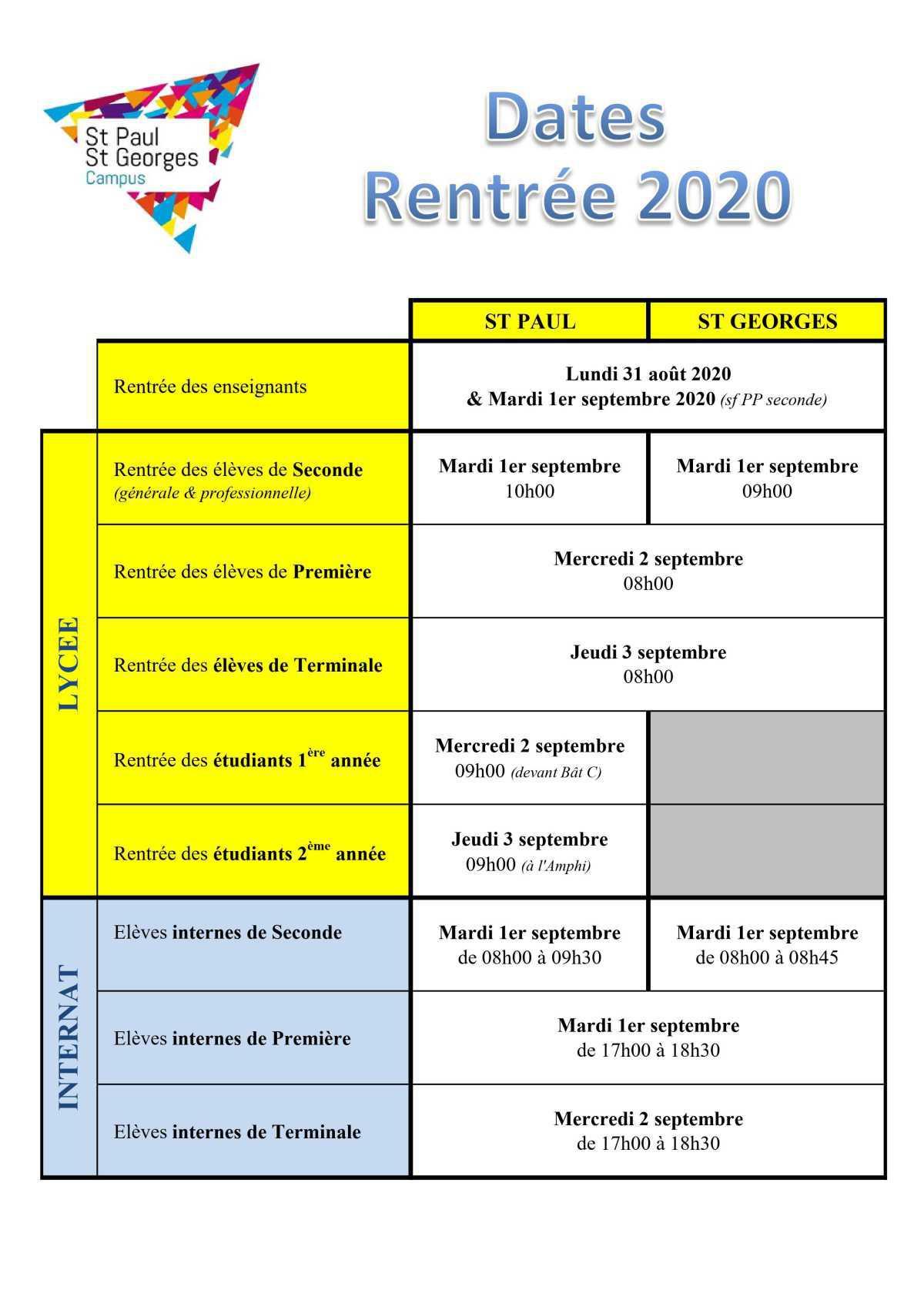 Dates et horaires de rentrée - septembre 2020