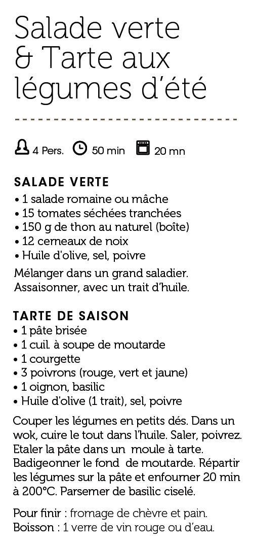 Salade verte & Tarte aux légumes d'été
