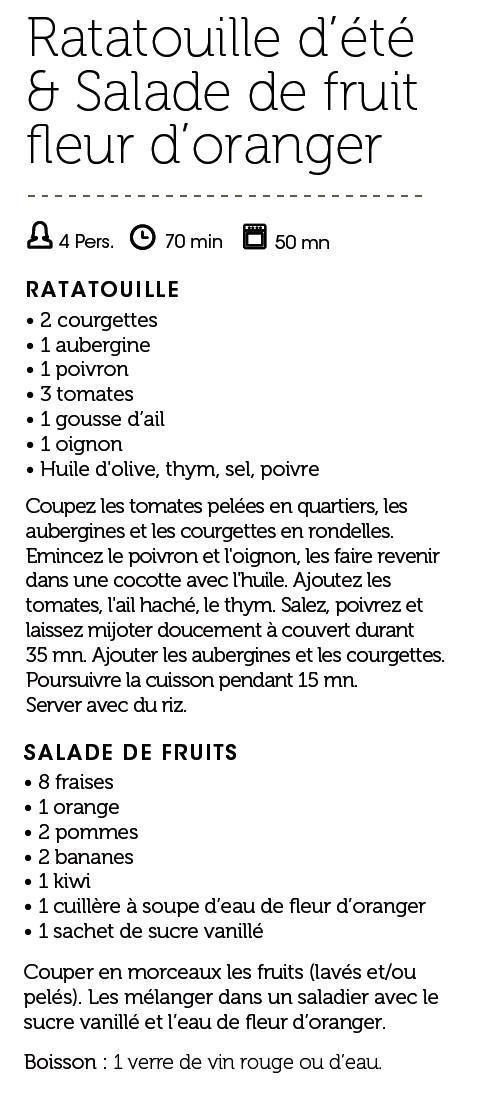 Ratatouille d'été & Salade de fruit fleur d'oranger